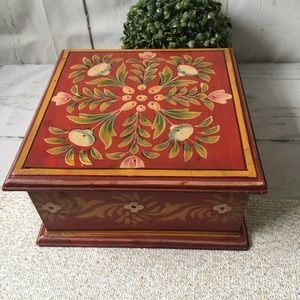 Vintage Boho Red Floral Wooden Box Container